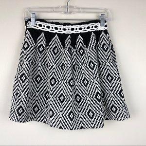 FREE PEOPLE | Black White Geometric Ethnic Skirt